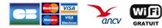 CB, Visa, MasterCard - ANCV - Wifi gratuit